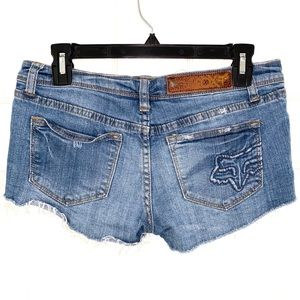 Fox Shorts - FOX Distressed Low Rise Booty Jean Shorts Size 25